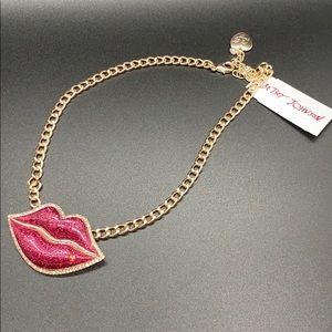 Betsey Johnson Glitter Lips Earrings NWT